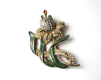 30s / 1940s pot metal brooch with rhinestones . enameled pot metal tulip brooch . possibly Coro flower brooch . trembler tulip brooch