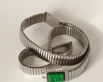 vintage stretch belt . silver stretch belt with green accents . watch band style hip belt . large, XL, plus size 31 to 50 + waist UNISEX
