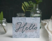 Greeting Card, Polka Dot, Friendship, Watercolor, Hello, Hi, Spots, Cursive, Hand Lettering, Cursive, Navy, Lavender, Blank Inside