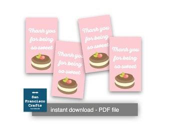 Macaroon Thank you Tags, PRINTABLE Favor Tags - Pink - Instant Download PDF File