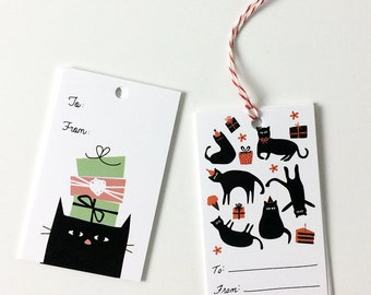 Double Cat Gift Tags - Birthday Gift Tags - 2 Designs - Pack of 10 with Twine