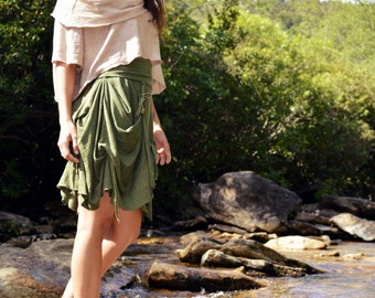 Waterfall bustle Below the knee Skirt in 100% Organic Cotton Hemp Jersey. Made to order.