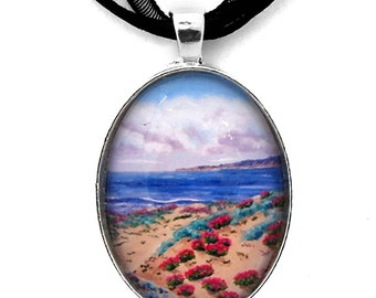 Pink Daisies in Sand Dunes Half Moon Bay California Seascape Ocean Flowers Sand Dunes Handmade Jewelry Gift for Her