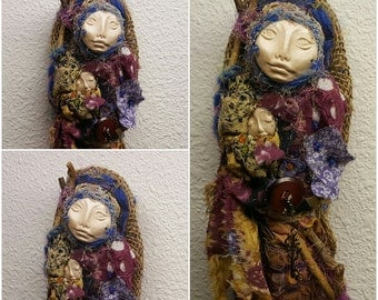 OOAK art doll. Button Collector, New Moon, Spirit doll. Little  Kitchen Witch, Shabby Chic Decor,