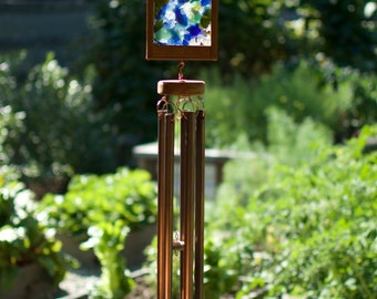 Wind Chime Sea Glass Kaleidoscope with Large Copper Chimes beach glass stained glass windchimes