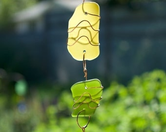 Sun Catcher Sea Glass Copper Suncatcher beach glass stained glass