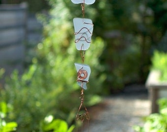 Wind Chime Beach Glass with Brass Chimes sea glass stained glass windchimes