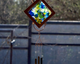 Wind Chime Sea Glass Sun Catcher with Brass Chimes, beach glass stained glass outdoor