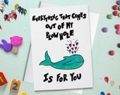 Whale Valentine, Funny Valentine, Valentine Card, Funny Greeting Card, Cute Valentine, Whale Card, Valentines Day, Envelope Included