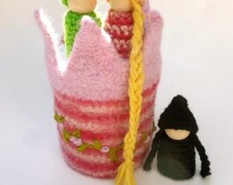 Rapunzel Tower wood peg dolls Waldorf  story prop Fairy tale set