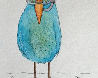 Original watercolor and Ink painting- Scuba