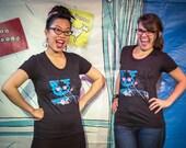 Meta Laser Cat Shirt - Women's Scoop Neck, Funny Cat, Funny T Shirt, Funny Shirts, Funny Cat Shirt, Laser Eyes Space Cat, Galaxy Cat Shirt