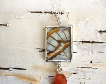 Real Butterfly Wing Necklace with Carnelian - malachite with faceted glass gem pendant and sterling chain