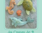 Mini Felt Sea Creatures Set 2 plush PDF sewing pattern felt animal patterns ornaments