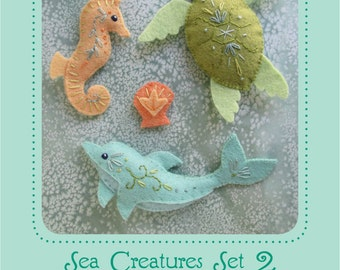 Mini Felt Sea Creatures Set 2 plush PDF sewing pattern felt animal patterns ornaments