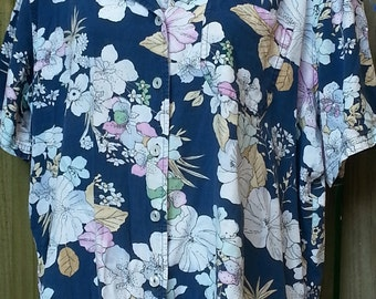 Vintage 90s Floral Print Short Sleeve Blouse Shirt Top Size 1X