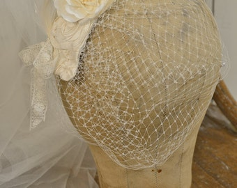 Russian Tulle Bridal Headpiece Veil with Handmade Silk Flowers . Ivory . Ready to Ship