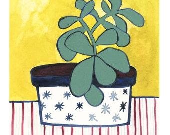 Jade Houseplant Print // Modern Decor // Garden Lovers // Plant Paintings // Modern Houseplant // Modern Print // Rachel Austin Art 11 x 14