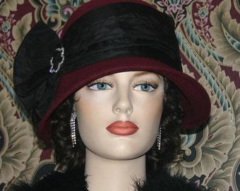 Flapper Hat Gatsby Hat Cloche Hat Burgundy Hat Roaring Twenties Hat Wool Hat Church hat - Josephine