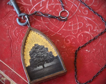 Tree of Life. Neckpiece jewelry. Original Mixed Media. Wearable Art. Handmade Necklace. Gold leaf. One of a Kind. REPOSE by Mikel Robinson