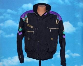 Spyder Black Purple Ski / Snowboard Jacket Medium Vintage