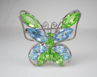 Vintage Pastel Blue Green Juliana Rhinestone Butterfly Brooch Pin Insect Jewelry DeLizza & Elster