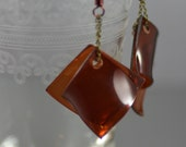 Recycled Plastic Bottle Amber and Antiqued Brass Chain Earrings