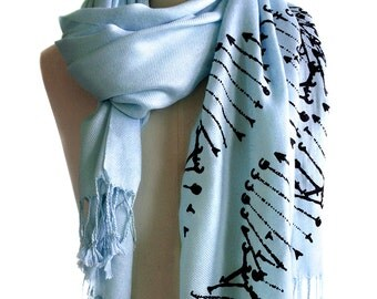 DNA Print Scarf. DNA Double Helix silkscreened printed pashmina. Science scarf. Last minute gift for science teacher, genetic research.