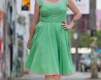Dilly Daisy Green and Pink Retro Swing 50's Style Dress