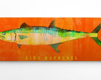 Guys Gifts for Him- King Mackerel Art Block Sign- Fish Art Beach Theme Gifts- Fish Gift Ideas for Him- King Mackerel Print- Fisherman Gift