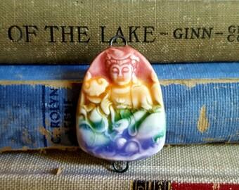 Rainbow Ceramic Porcelain Buddha Pendant Connector
