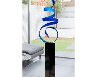 Large Blue Modern Metal Art, Indoor Outdoor Abstract Freestanding Sculpture, Handmade Home & Garden Decor - Blue Sea Breeze 24 by Jon Allen
