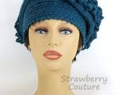 Crochet Hat Womens Hat, Cloche Hat 1920s, Womens Crochet Hat, Steampunk Hat, Antique Teal Blue Hat, LINDA 1920s Cloche Hat Crochet Flower