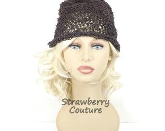 Knitted Sun Hat Beanie Hat, Knitted Beanie Hat for Summer, Womens Hat Summer Hat Beach Hat, Brown Hemp Hat