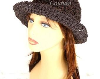 Crochet Sun Hat for Women, Floppy Sun Hat, Floppy Hat, Womens Crochet Hat Crochet Womens Hat, Hemp Hat, Wide Brim Hat, Brown Hat, Shady Lady