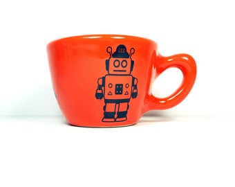 12oz cup with a Robot print, shown on Clementine glaze - Made to Order/ Pick Your Colour/Add a Lid