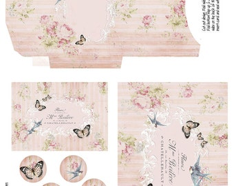 Butterflies and Birds - Digital Download - Printable Envelope and Card Set - Notecards - ATC - Victorian - Cottage - Romantic - Invitations