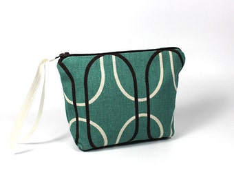 Small Teal and Brown Retro Zipper Pouch