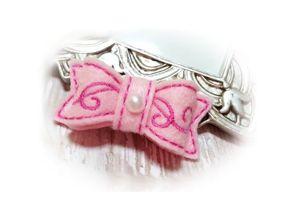 Pink Felt Dog Bow - Embroidery Scroll Design - Felt Pet Hair Accessory