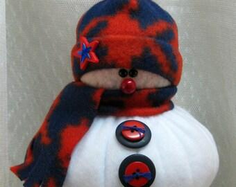 Handmade Stuffed Snowman Decoration, Christmas Holiday Decor, Snowman Christmas Ornament, Winter Decor, Little Bit Navy & Red Fleece