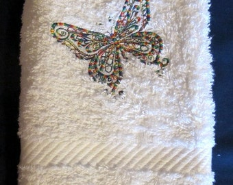 Multi Colored Butterfly on White Bath Hand Towel Eye Catching