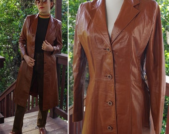BROOKLYN 1970's Vintage Brown Leather Long Trench Coat // by CASABLANCA // size Small 34