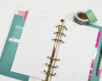 Personal Size Undated Vertical Week on Four Page spread for Personal or Compact Filofax, Medium Kikki K, planner inserts - minimalist design