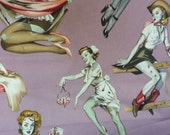 1 Yard BEAUTIES AND BRAINS Pin Up Girl Zombies Mauve Pink Novelty Cotton Fabric by Alexander Henry Fabrics