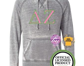 Delta Zeta Shirt, Delta Zeta Hoodie, Delta Zeta jacket, DZ sorority letter shirt, vintage, applique, embroidered, appliqued sorority letters