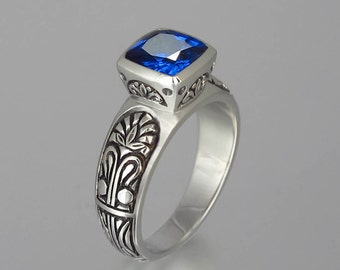 ALEXANDRA silver ring with created Sapphire