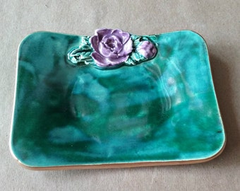 Ceramic Jewelry Trinket Dish malachite green with purple rose edged in gold