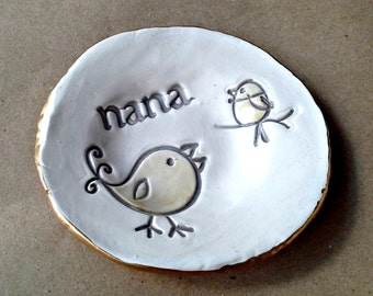 Personalized Ceramic Trinket Bowl NANA edged in gold  Mothers day