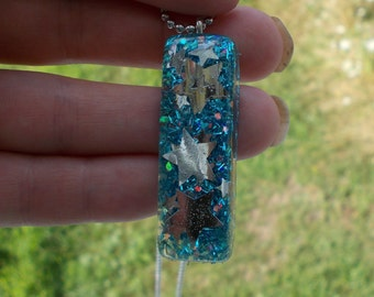 Ohh My Falling Stars and Blue Glitter Resin necklace-Emo-Punk-Kitsch