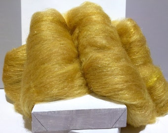 "Gold wool fiber art batt, felting wool, spinning fiber, ""Rumpelstiltskin"", gold roving wool, gold angelina fiber"